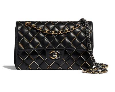 Sac Classique Chanel Agneau, métal doré, argenté, noir & finition ruthénium