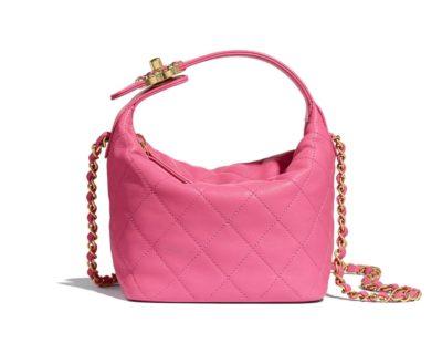 Petit sac Hobo Chanel rose en agneau et métal doré