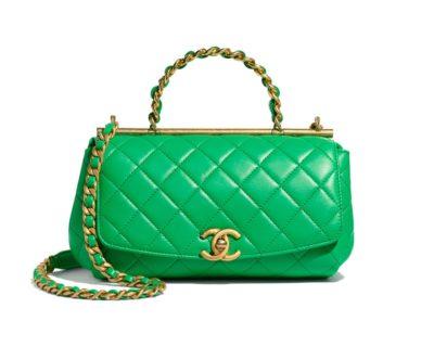 Petit sac à rabat avec poignée en agneau et métal doré Chanel