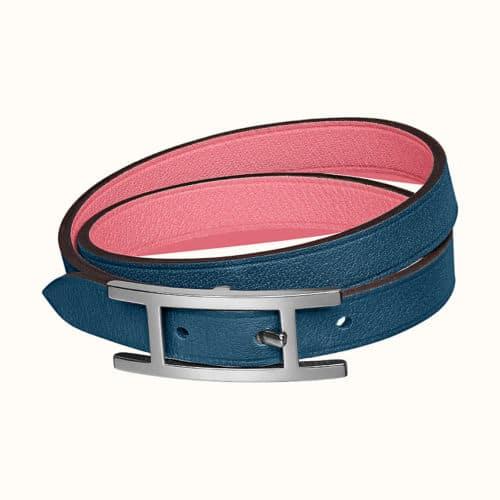 Bracelet Behapi double tour en bleu foncé / azalée rose
