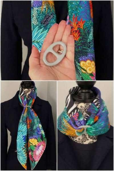 Comme pour tout anneau de foulard, il suffit de tirer les extrémités et de les ajuster.