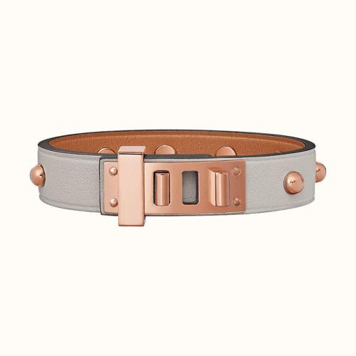 Bracelet mini Dog Clous Ronds à Gris Perle