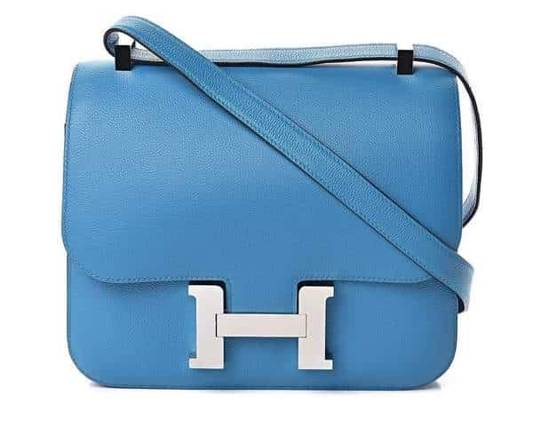 sac bleu Hermes Constance