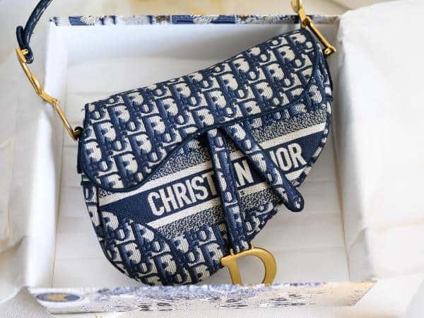 Nouveau sac saddle Dior oblique en toile brodée