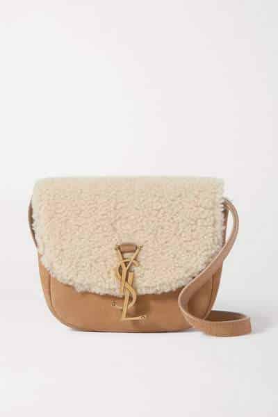 Mini sac YSL Kate porté épaule en daim et shearling