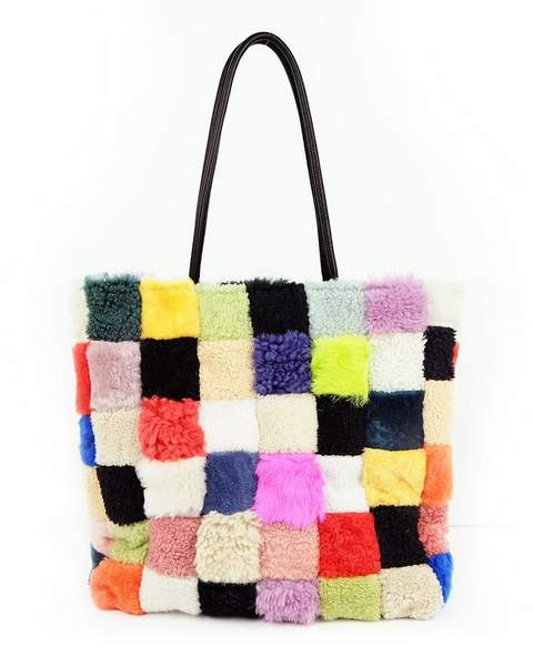 cabas scraps patchwork shearling